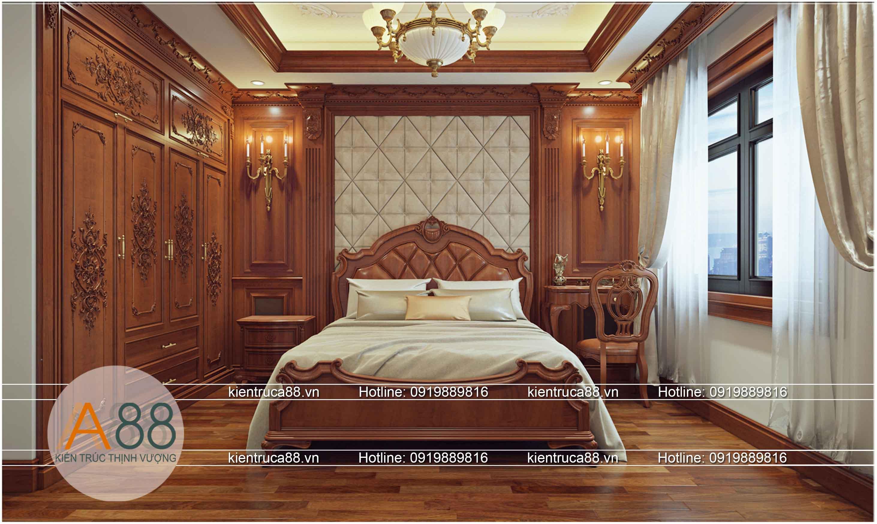 Thiết kế phòng ngủ biệt thự theo phong cách tân cổ điển