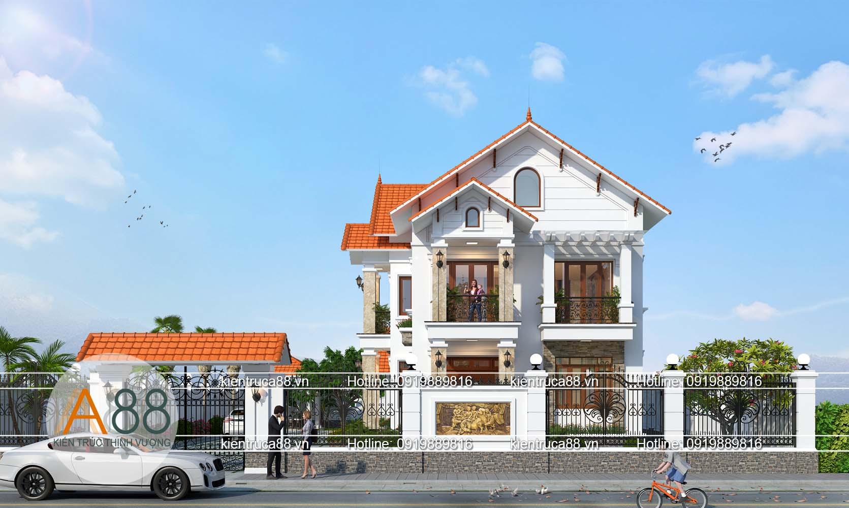 Phối cảnh biệt thự 2 tầng hiện đại tại Bắc Giang