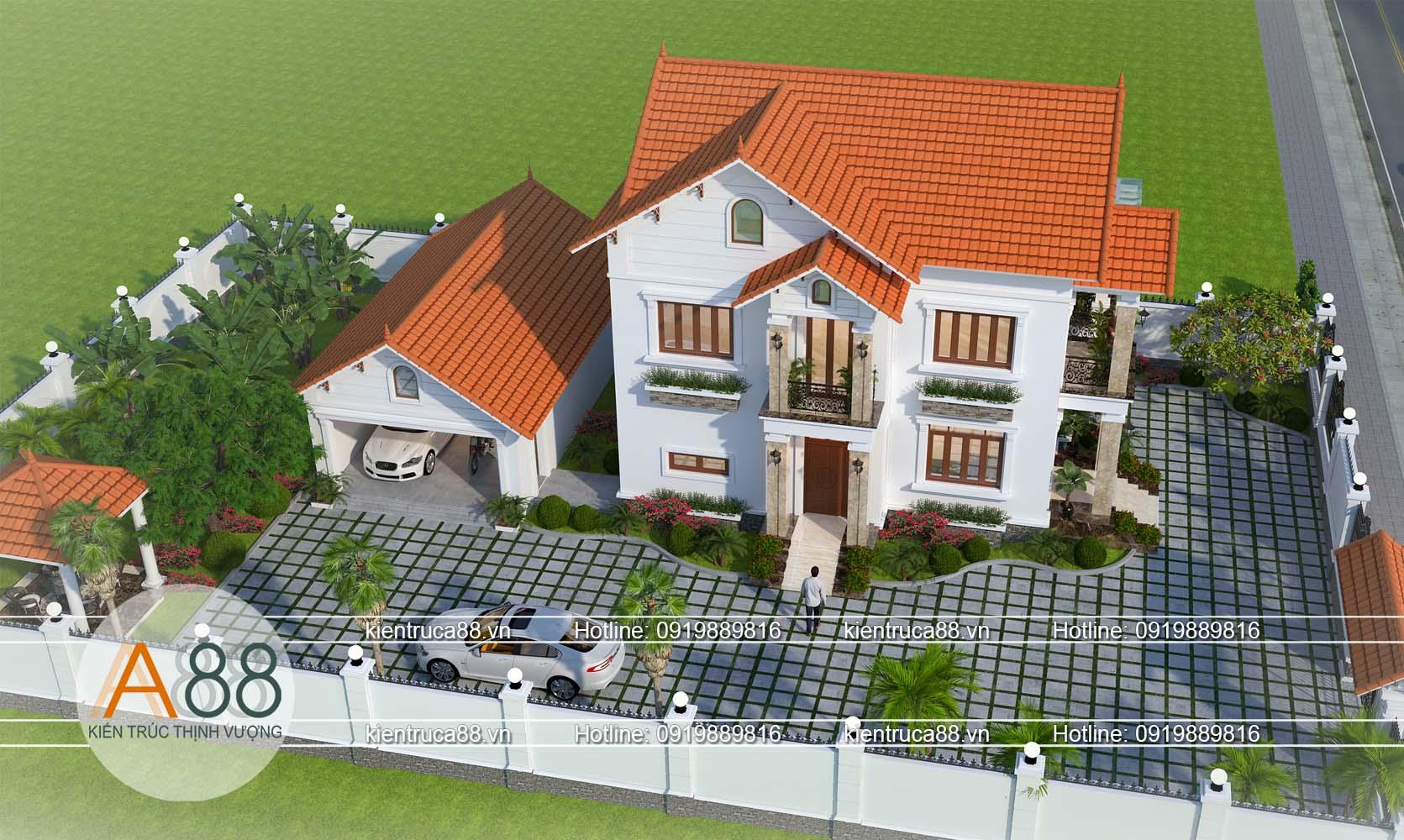 Tổng thể căn biệt thự 2 tầng hiện đại tại Bắc Giang