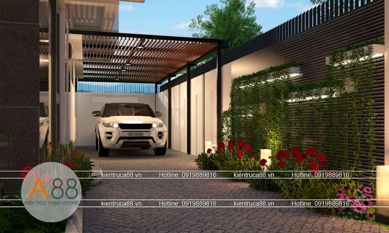 thiết kế biệt thự có gara để xe ô tô bên ngoài