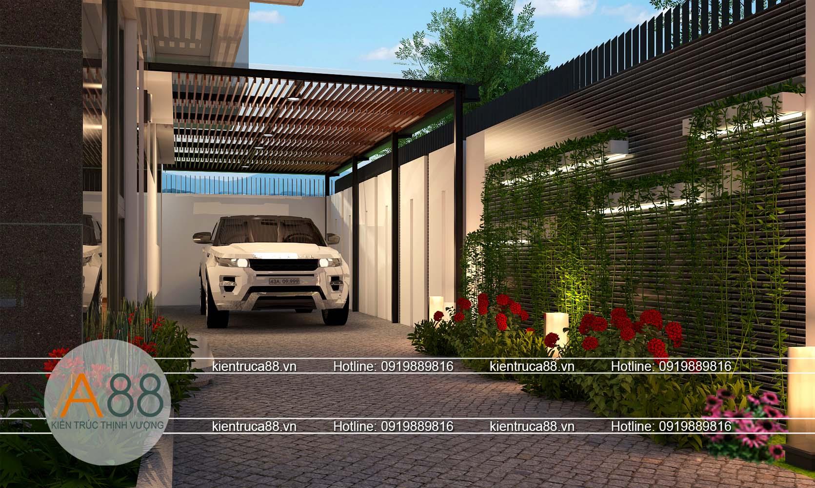 Thiết kế biệt thự có garo ô tô bên ngoài