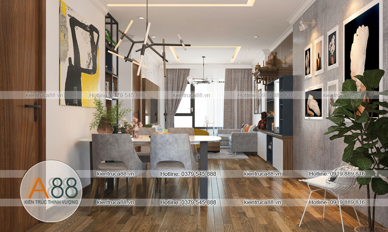 thiết kế nội thất nhà bếp phòng ăn chung cư