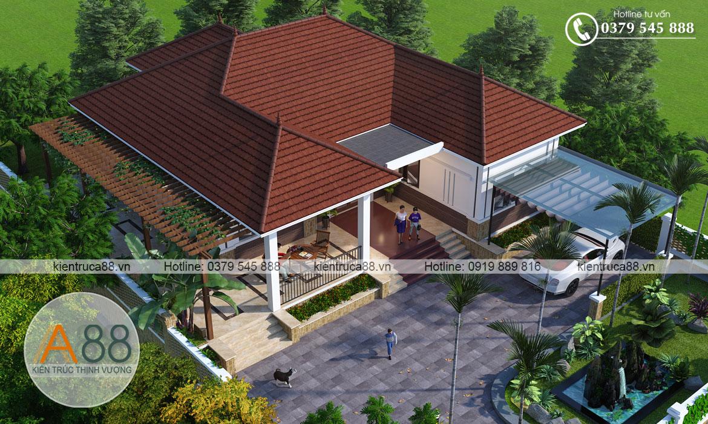 Mẫu thiết kế biệt thự nhà vườn 1 tầng 4 phòng ngủ
