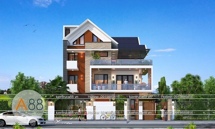 mẫu thiết kế nhà biệt thự mặt tiền 15m đẹp mỹ mãn