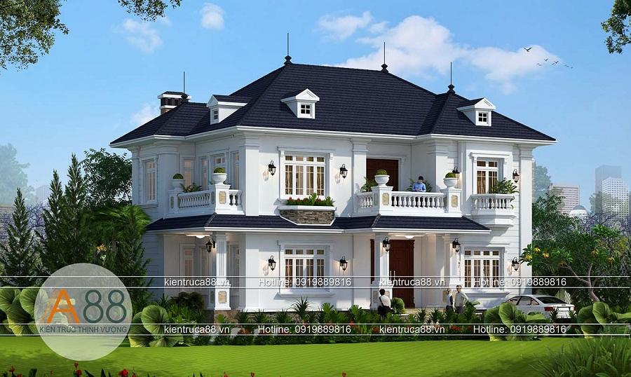 thiết kế nhà biệt thự mặt tiền 15m