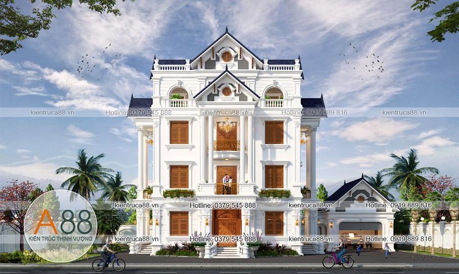 Mẫu thiết kế biệt thự mặt tiền 15m theo kiến trúc Pháp