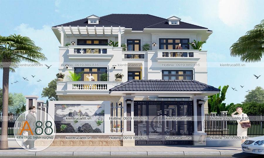Mẫu thiết kế nhà biệt thự mặt tiền 15m kiểu Pháp