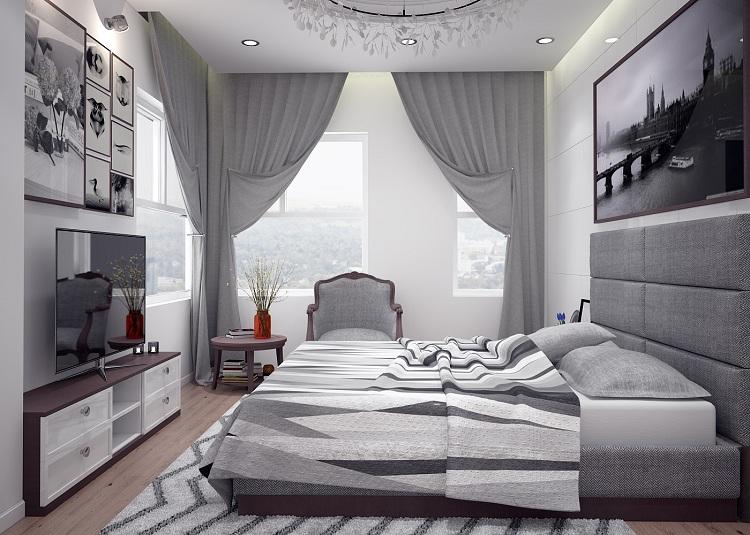 Thiết kế nội thất phòng ngủ cho căn hộ chung cư 70m2