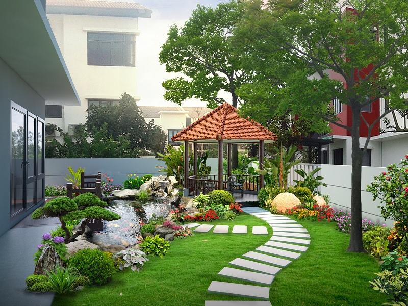thiết kế sân vườn tiểu cảnh biệt thự