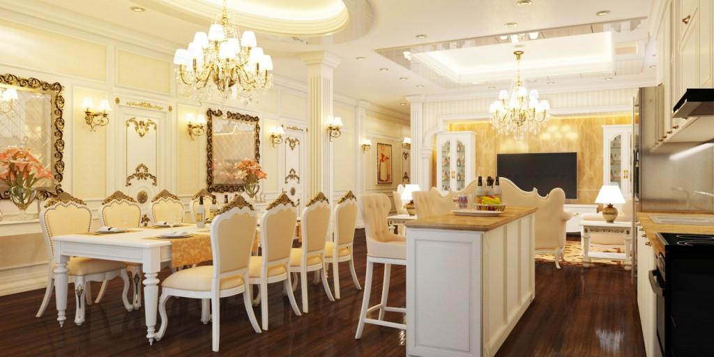 Thiết kế nội thất phòng ăn tân cổ điển