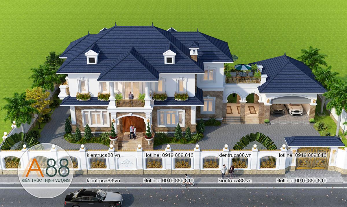 thiết kế biệt thự tân cổ điển 2 tầng
