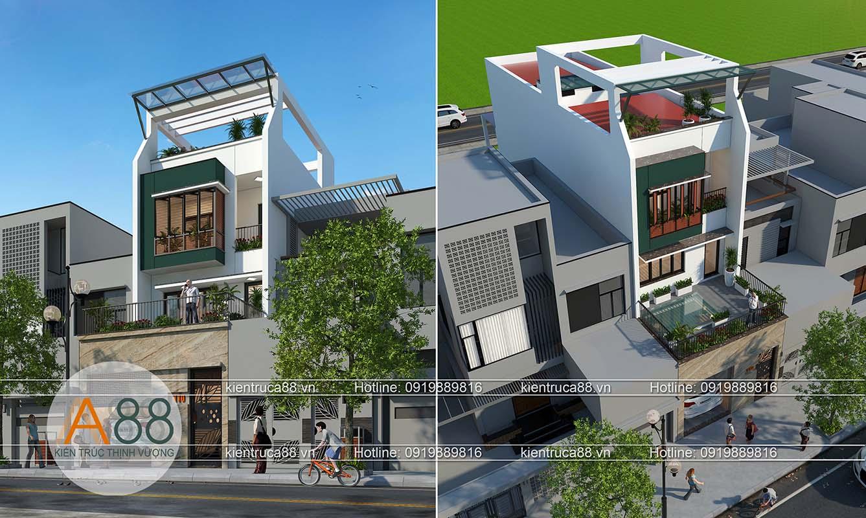 mẫu thiết kế biệt thự hiện đại mặt phố